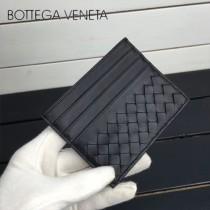 BV 1323-7 輕便實用黑色進口編織羊皮7卡位卡片夾