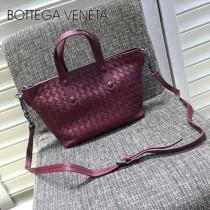 BV 7642-9 現代都市棗紅色編織羊皮迷你手提單肩包