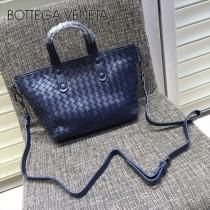 BV 7642-8 現代都市寶石藍色編織羊皮迷你手提單肩包