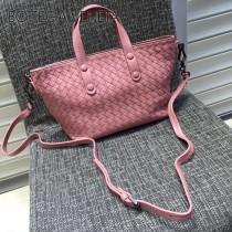 BV 7642-5 現代都市粉色編織羊皮迷你手提單肩包