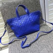 BV 7642-6 現代都市藍色編織羊皮迷你手提單肩包