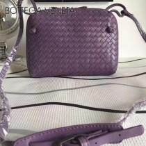 BV 114A-2 秋冬新款紫色編織羊皮雙隔層單肩斜挎包