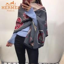 HERMES-0110特價圍巾 愛馬仕秋冬新款馬拉車標誌圖案羊毛混紡加厚款圍巾披肩