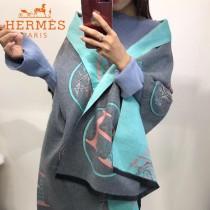 HERMES-0110-3特價圍巾 愛馬仕秋冬新款馬拉車標誌圖案羊毛混紡加厚款圍巾披肩