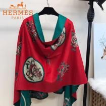 HERMES-0110-2特價圍巾 愛馬仕秋冬新款馬拉車標誌圖案羊毛混紡加厚款圍巾披肩