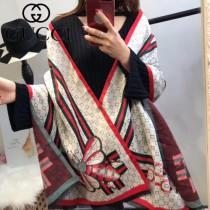 GUCCI特價圍巾-07 古馳蜜蜂系列羊絨款雙面用圍巾披肩