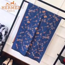 HERMES特價圍巾-01-3 愛馬仕秋冬新款羊絨加銀線混紡雙面用披肩圍巾
