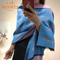 HERMES特價圍巾-01-2 愛馬仕秋冬新款羊絨加銀線混紡雙面用披肩圍巾