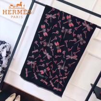 HERMES特價圍巾-01 愛馬仕秋冬新款羊絨加銀線混紡雙面用披肩圍巾
