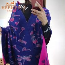 HERMES特價圍巾-01-5 愛馬仕秋冬新款羊絨加銀線混紡雙面用披肩圍巾