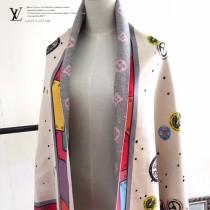 LV特價圍巾-121-3 新款徽章設計雙面用羊絨混紡圍巾