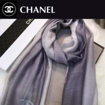 CHANEL圍巾-04-4 香奈兒時尚女士原單燙鑽LOGO漸變絲羊毛長款圍巾絲巾