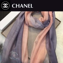 CHANEL圍巾-04-5 香奈兒時尚女士原單燙鑽LOGO漸變絲羊毛長款圍巾絲巾