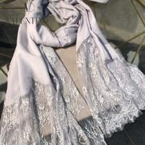 VALENTINO圍巾-01-5 潮流新品女士素色加蕾絲邊設計頂級羊絨長款圍巾