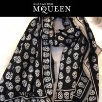 McQueen圍巾-03 麥昆秋冬新款雙面提花真絲加羊絨長款圍巾