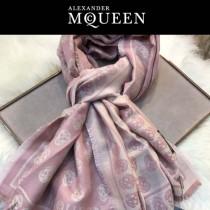 McQueen圍巾-03-2 麥昆秋冬新款雙面提花真絲加羊絨長款圍巾