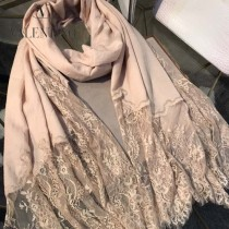 VALENTINO圍巾-01-4 潮流新品女士素色加蕾絲邊設計頂級羊絨長款圍巾
