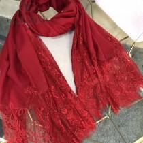 VALENTINO圍巾-01 潮流新品女士素色加蕾絲邊設計頂級羊絨長款圍巾