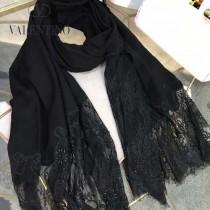 VALENTINO圍巾-01-3 潮流新品女士素色加蕾絲邊設計頂級羊絨長款圍巾
