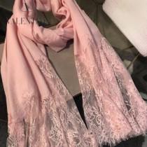 VALENTINO圍巾-01-2 潮流新品女士素色加蕾絲邊設計頂級羊絨長款圍巾