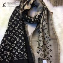 LV圍巾-06 路易威登新款羊絨加真絲Monogram提花長款圍巾