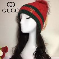 GUCCI帽子-2-3 古馳2017秋冬最新款100羊毛狐狸毛球氣質毛線帽