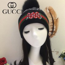 GUCCI帽子-5 古馳最新款刺繡老虎簡單大方混紡羊毛面料狐狸毛毛球情侶款毛線單帽
