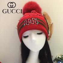 GUCCI帽子-5-2 古馳最新款刺繡老虎簡單大方混紡羊毛面料狐狸毛毛球情侶款毛線單帽