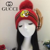 GUCCI帽子-5-5 古馳最新款刺繡老虎簡單大方混紡羊毛面料狐狸毛毛球情侶款毛線單帽