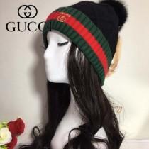 GUCCI帽子-2-2 古馳2017秋冬最新款100羊毛狐狸毛球氣質毛線帽