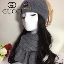 GUCCI帽子-3-2 古馳2017秋冬最新款狐狸毛球氣質款毛線帽加圍巾