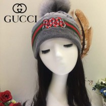 GUCCI帽子-5-3 古馳最新款刺繡老虎簡單大方混紡羊毛面料狐狸毛毛球情侶款毛線單帽