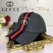 GUCCI帽子-1 古馳最新款羊毛呢料高端大氣高檔灰色爆款棒球帽