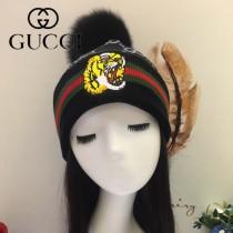 GUCCI帽子-5-6 古馳最新款刺繡老虎簡單大方混紡羊毛面料狐狸毛毛球情侶款毛線單帽