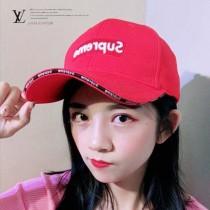 LV帽子-2-2 supreme聯名款潮流爆款精緻刺繡運動風情侶款鴨舌帽