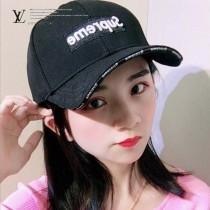 LV帽子-2-3 supreme聯名款潮流爆款精緻刺繡運動風情侶款鴨舌帽