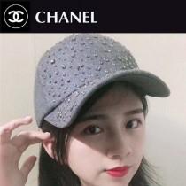 CHANEL帽子-1-2 香奈兒秋冬新款經典滿鑽呢子棒球帽