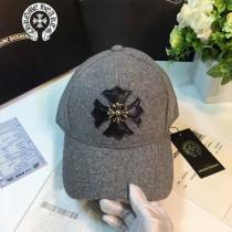 Chrome Hearts帽子-1 秋冬新款皮質時尚百搭遮陽帽十字紋呢子棒球帽