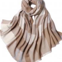 CHLOE圍巾-03-3 克洛伊秋冬專櫃新款原單輕縮絨平紋格紋羊羔絨長款圍巾
