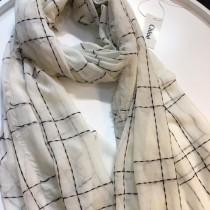 CHLOE圍巾-04-4 克洛伊殿堂級好貨橫豎線條設計純羊絨長款圍巾