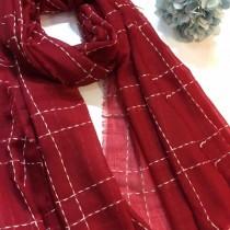 CHLOE圍巾-04-3 克洛伊殿堂級好貨橫豎線條設計純羊絨長款圍巾