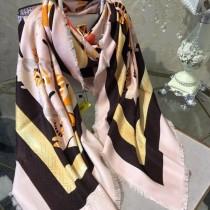 FENDI圍巾-02 芬迪潮流新款小怪獸圖案提花真絲羊絨方巾圍巾