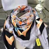 FENDI圍巾-02-2 芬迪潮流新款小怪獸圖案提花真絲羊絨方巾圍巾
