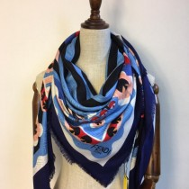 FENDI圍巾-03-2 芬迪潮流新款小怪獸圖案提花真絲羊絨方巾圍巾