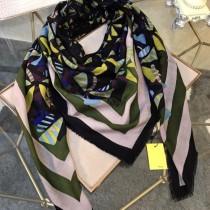 FENDI圍巾-01-5 芬迪經典LOGO印花風格花卉300支山羊絨方巾圍巾