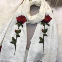 D&G圍巾-01-3 杜嘉班納巴黎走秀系列玫瑰花刺繡羊毛長款圍巾