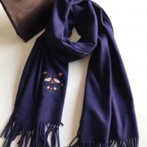GUCCI圍巾-012-6 古馳新款原單蜜蜂刺繡克什米爾山羊絨長款圍巾披肩