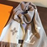 LV圍巾-026-3 路易威登專櫃新色Monogram羊絨加羊毛長款圍巾披肩