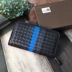BV-V85353-2 寶緹嘉煙熏編織拼色意大利胎牛皮男士拉鏈小手包錢包