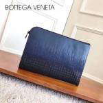 BV-475933 秋冬新品寧單色色碧璽藍配黑色光滑小公牛刺繡手包